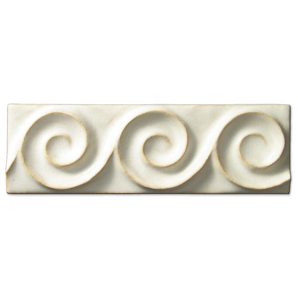 Spiral Wave Border 2x6 inch Ancient White