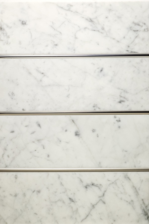 (Top to bottom) Precision Dome Polished Chrome, Polished Nickel, Satin Nickel with white marble
