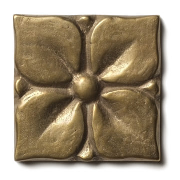 Gallery caption: Blooming Leaf <br> 2.5x2.5 inch accent tile <br> White Bronze
