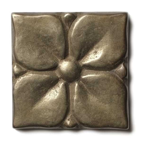 Blooming Leaf 2.5x2.5 inch accent tile White Bronze