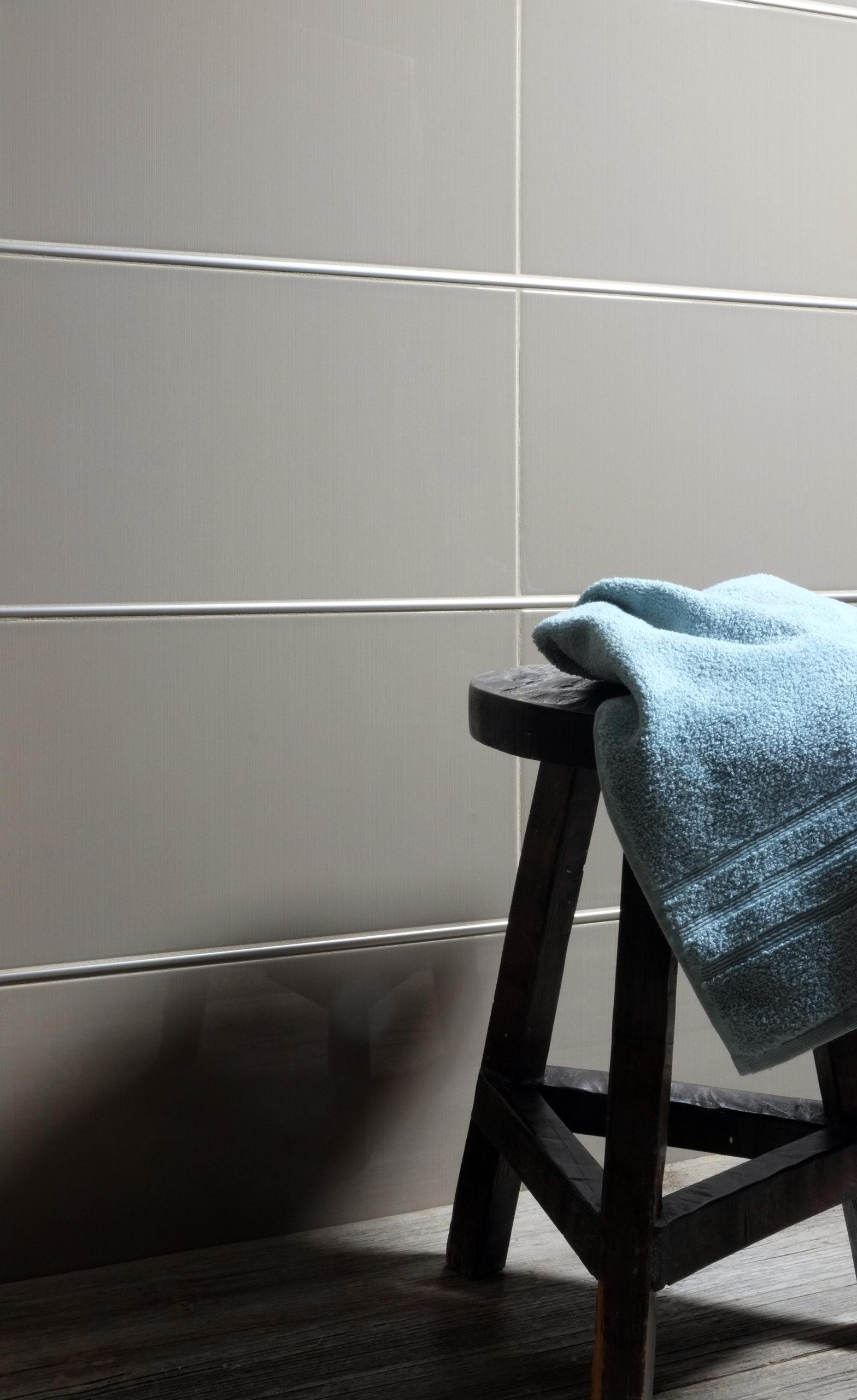BWS Precision Liner Satin Nickel grey limestone stool towel