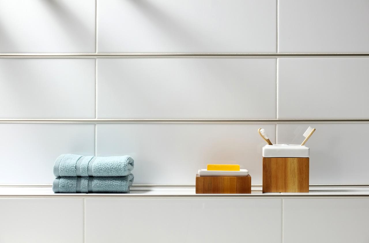 BWS Precision Liner Satin Nickel white porcelain soap dish