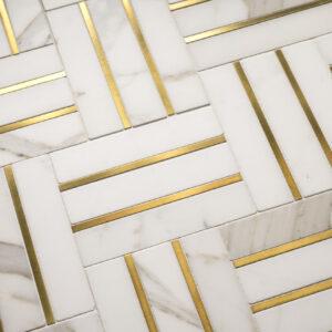 Bronzework Studio Precision Square Liner Hepburn Brass white marble floor