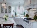 Gail Drury Blooming Leaf .63-inch, 1.25-inch inset and Roman metal accent liner tile white tile backsplash