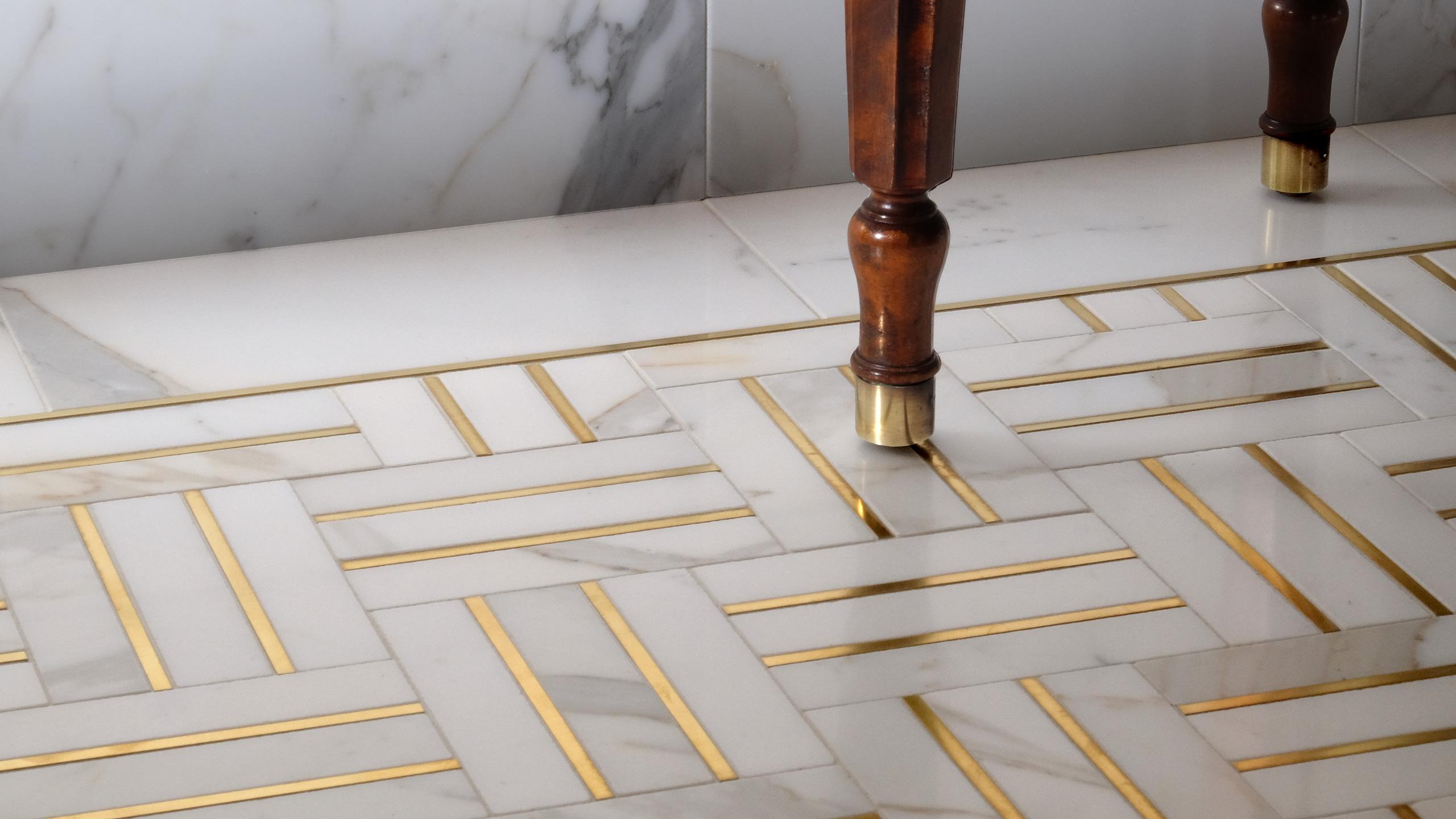 Bronzework Studio Precision Liner Living Brass Herringbone