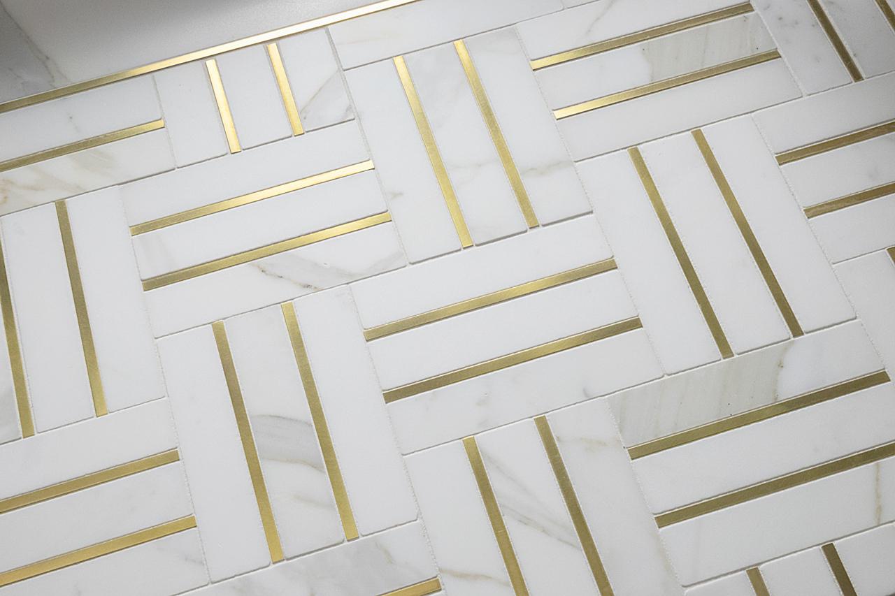 Bronzework Studio Precision Square Brass herringbone floor