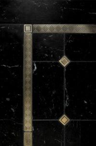 """$110 · Quadrille Border, Square Inset · Black Marble · 12x18"""""""