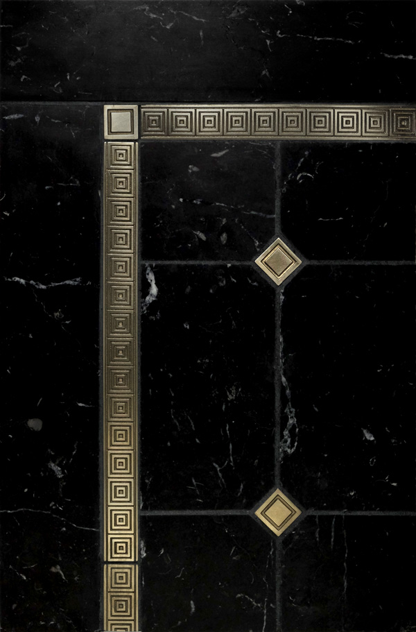 Quadrille accent liners and Square inset tiles with black marble