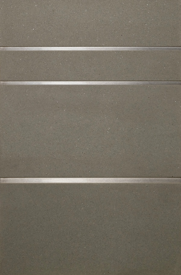 Precision Square Stainless Steel Liner 1/4 (top) 3/8 (bottom) with grey Pietra Sienna