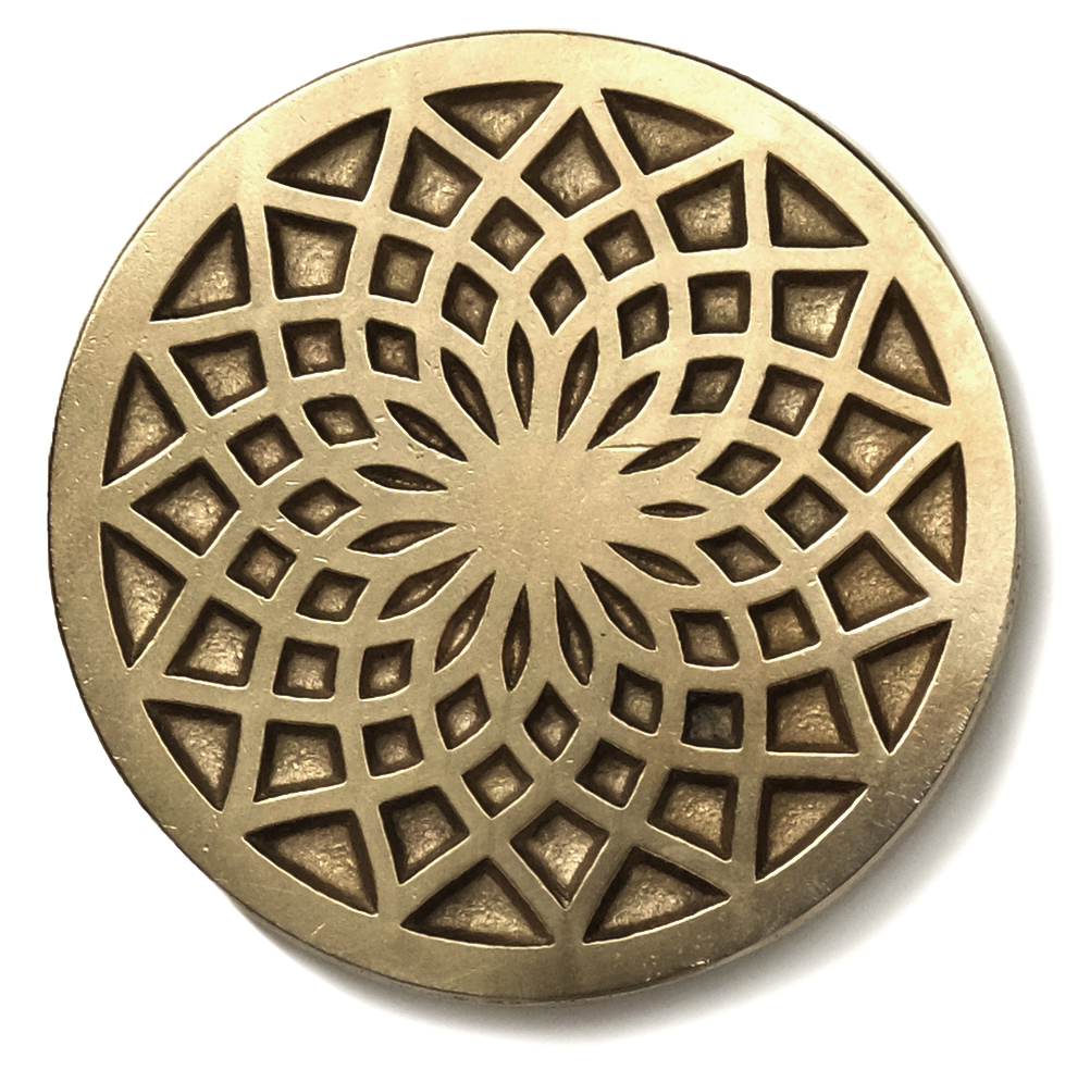 Dahlia  2.5 inch diameter inset tile Traditional Bronze