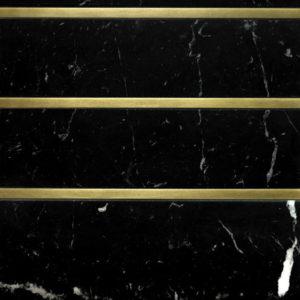 Bronzework Studio Precision Square Liner Hepburn Brass black marble