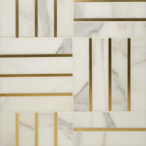 Bronzework Studio Precision Square Liners Hepburn Brass white marble display