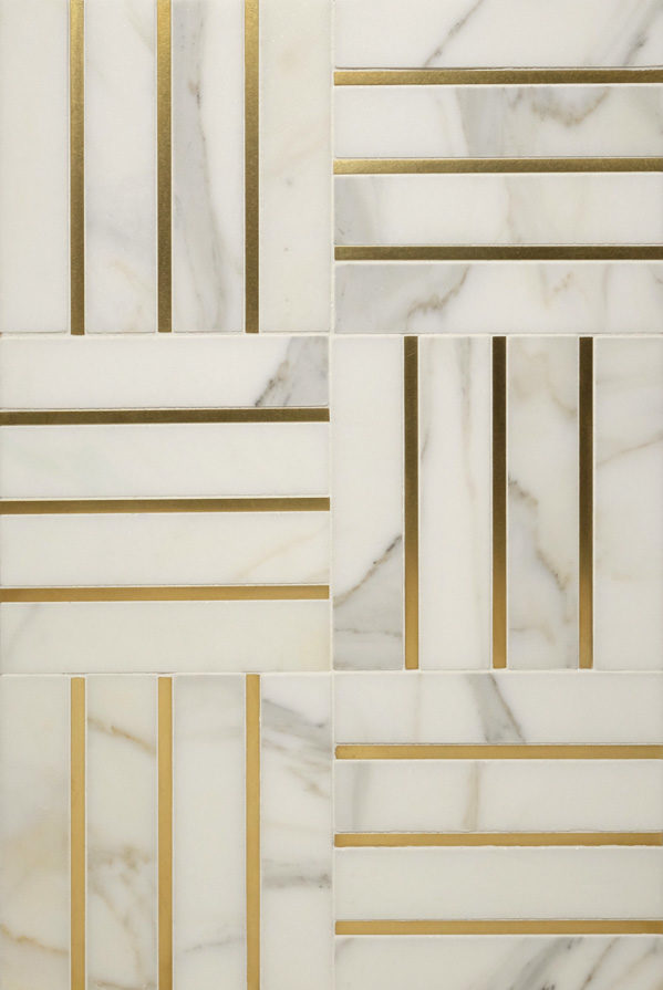 "Living Brass 1/4"" · White Marble"