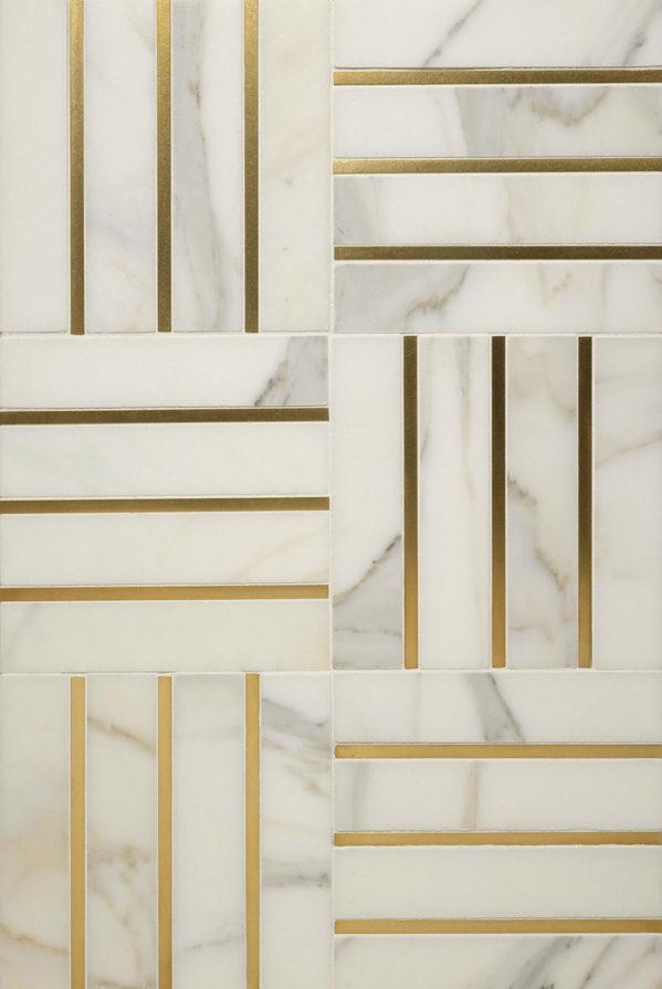 "$150 · Living Brass 1/4"" · White Marble · 12x18"""