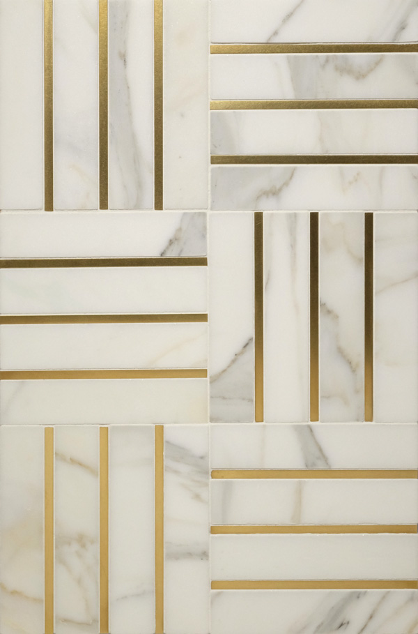 Precision Square Brass Liner 1/4 inch with white marble
