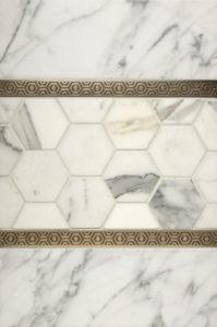 "$110 · Bebop Border · White Marble · 12x18"""