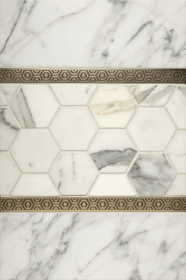 Bebop metal accent liners with white marble