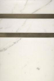 """$100 · Tuxedo Border · White Marble · 12x18"""""""