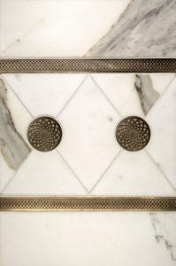 "$120 · Octave Border, Dahlia Inset · White Marble · 12x18"""