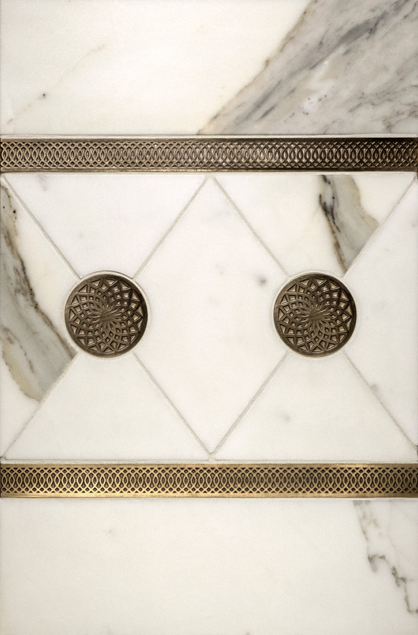Dahlia metal inset and Octave metal accent liner with white marble