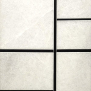 Bronzework Studio Precision Square Liner Matte Black 1/4-inch and 3/8-inch white marble display