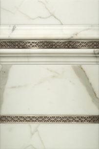 """$125 · Galileo Border · White Marble · 12x18"""""""