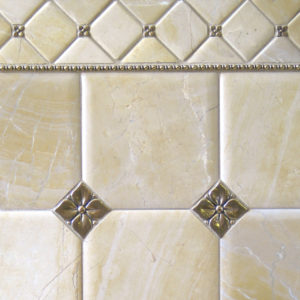 Bronzework Studio Classic Blooming Leaf .63-inch, 2.5-inch insets and Roman metal accent liner tiles with limestone