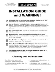 Installation & Cleaning