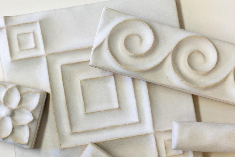 Talisman white ceramic tile array