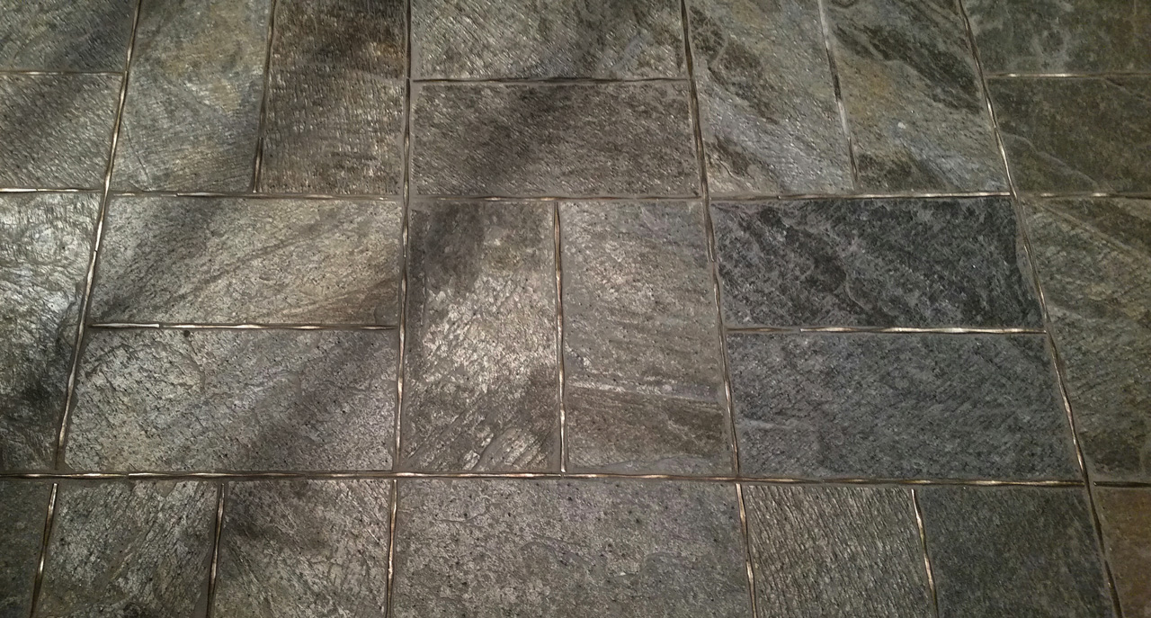 Traditional Bronze metal accent tile Flowing Liner slate