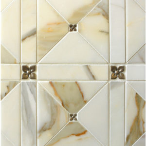 traditional bronze tile accent Calacatta marble cream pattern