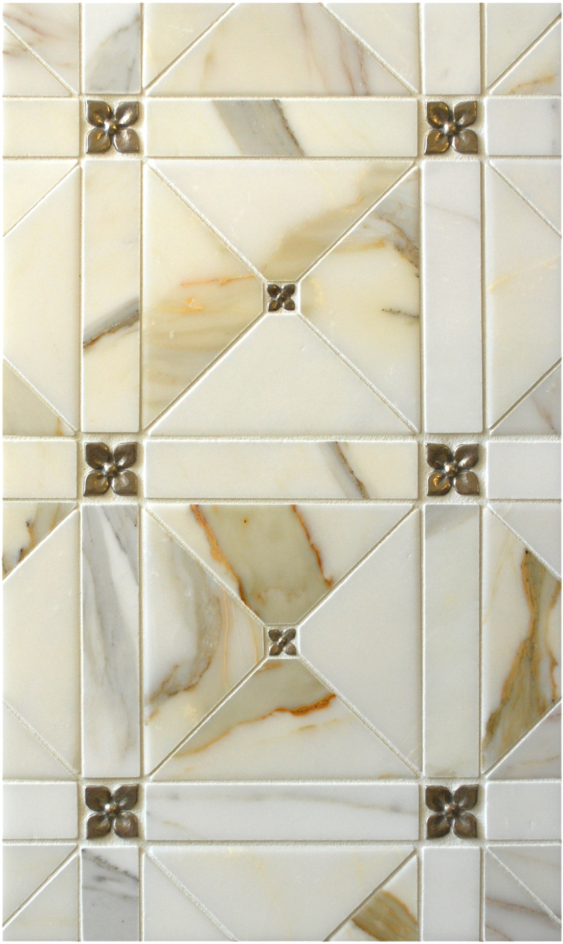 Metal accent tiles: Two sizes of Blooming Leaf in Traditional Bronze with marble cut in an intricate pattern