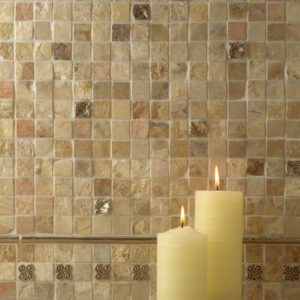 Foundry Art Carved Half-Round liners and 1-inch metal accent inset tiles stone backsplash installation