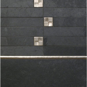 Bronzework Studio Classic Terrace 1.25-inch insets and Basic metal accent liner tile with black stone