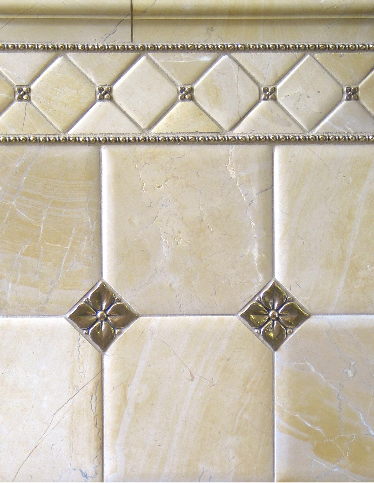 - Traditional Bronze Tile Accent Liner Limestone Bathroom Lowitz