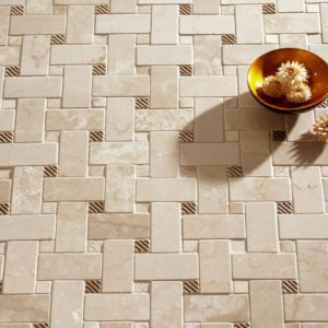 Bronzework Studio Classic Ruffle metal accent inset tile marble basketweave mosaic