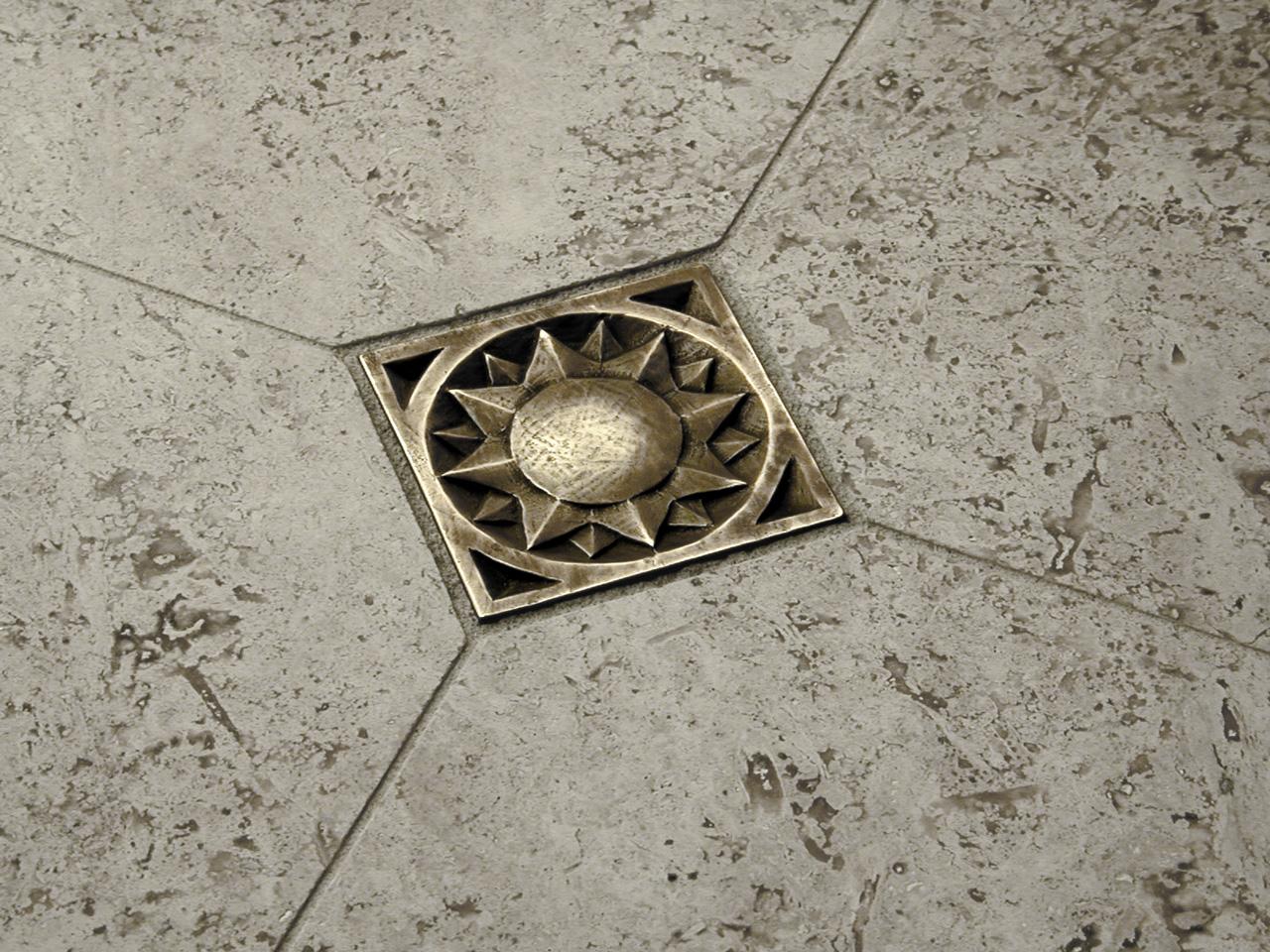 Sun 3x3 in Traditional Bronze with gray travertine limestone