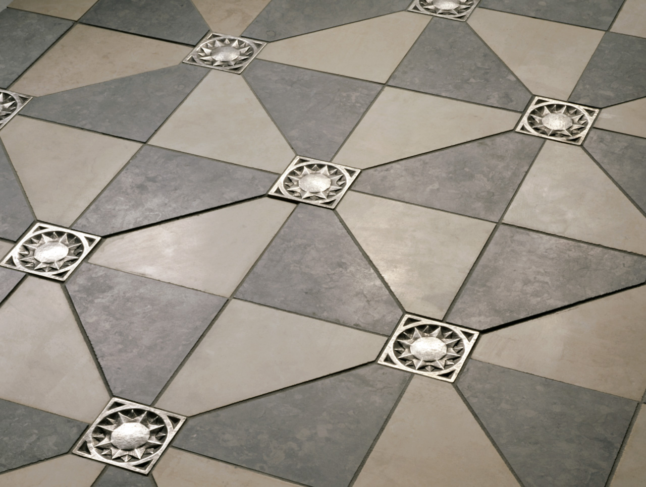 traditional bronze tile accent sun inset grey limestone floor