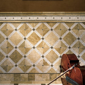 traditional bronze tile accent transitional limestone wall