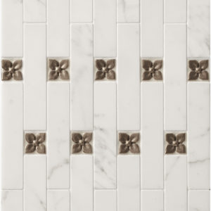 Bronzework Studio Classic Blooming Leaf 1.25-inch metal accent inset tiles with white marble