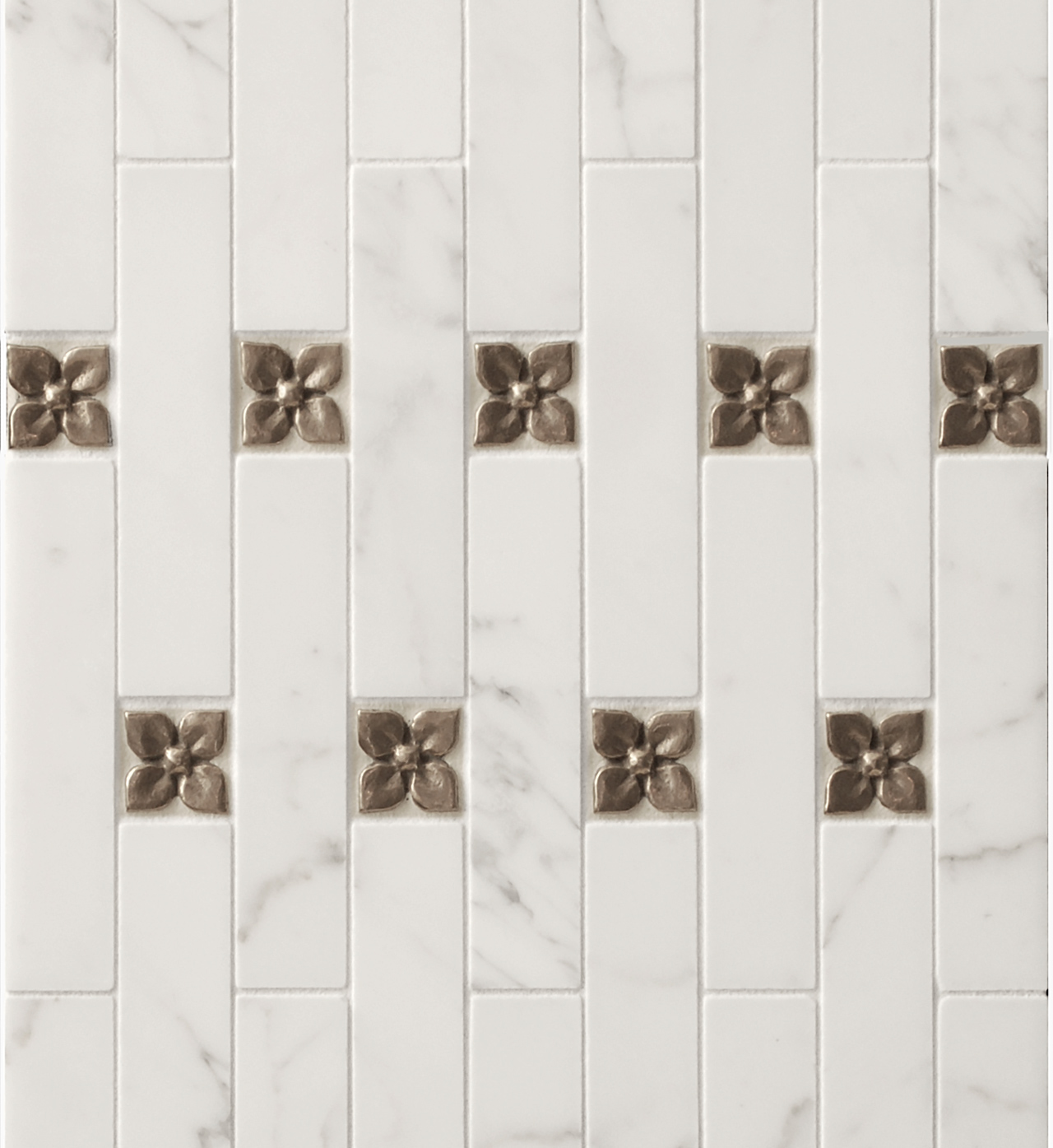 traditional bronze tile accent white marble Calacatta contemporary
