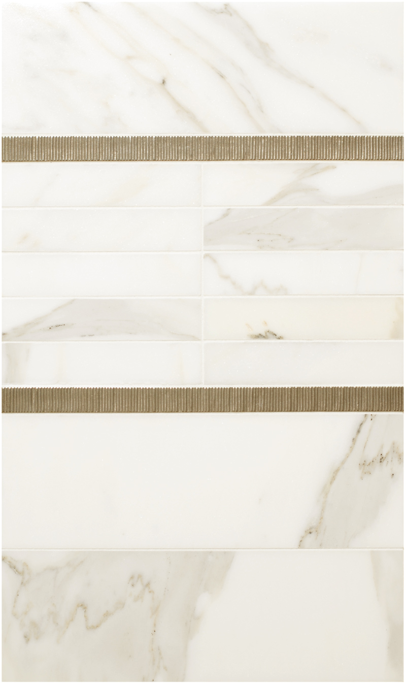 Metal accent liners: Beach Grass Liner in Traditional Bronze with white marble
