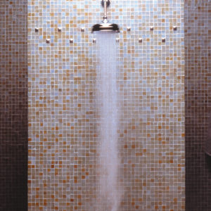 white bronze tile accent glass mosaic shower