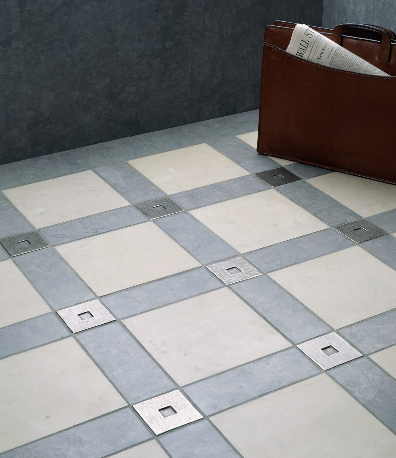 white bronze tile accent inset gray white limestone floor