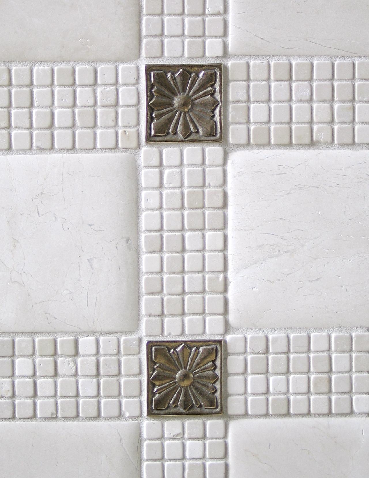 white bronze tile accent limestone mosaic
