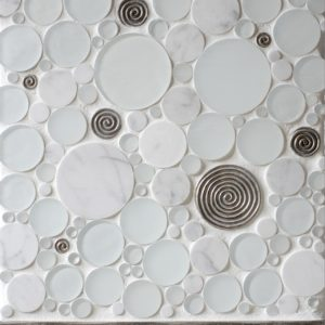 white bronze tile accent marble glass bathroom