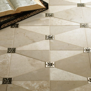 Bronzework Studio Classic Blooming Leaf 2.5-inch limestone floor