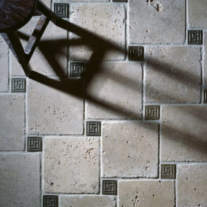 Foundry Art Grid metal accent inset tile stone floor installation
