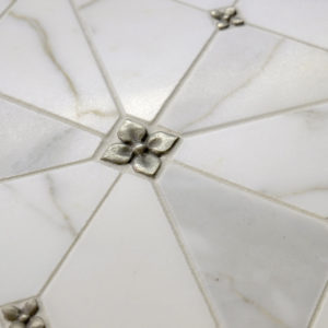 white bronze tile accent transitional Calacatta marble