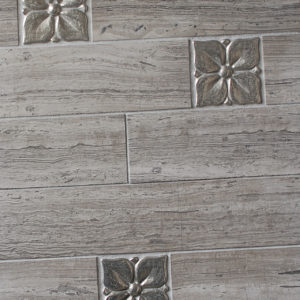 Bronzework Studio Classic Blooming Leaf 2.5-inch metal accent inset tile wood porcelain floor